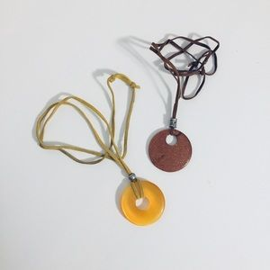 Jewelry - Circle necklace / glass pendant / earthy